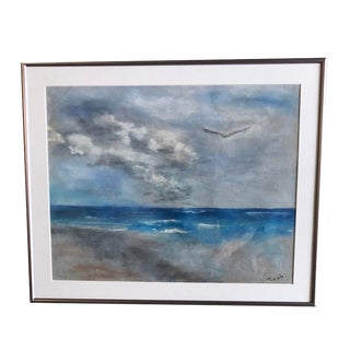 Vintage Mid-Century Toshi Japanese Seascape Pastel Drawing For Sale