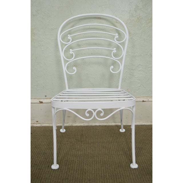 STORE ITEM #: 15510 Woodard Set of 4 White Painted Scrolled Iron Patio Dining Chairs AGE/COUNTRY OF ORIGIN – Approx 25...