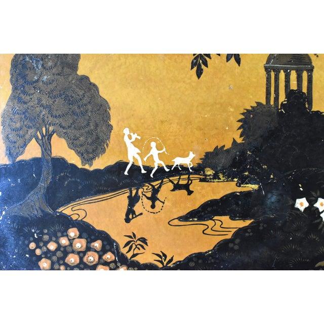 Art Deco Rare Antique 1920s Papier Mache Pochoir Print Tray For Sale - Image 3 of 12