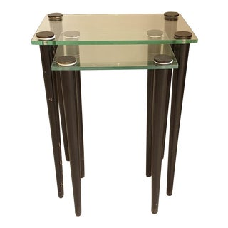 Set of 2 Nesting Tables, Mid Century Modern, Glass & Black Wood Legs, Italy 1960 For Sale