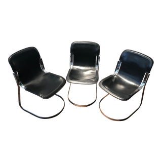 Willy Rizzo for Cidue Black Saddle Leather Chairs - Set of 3 For Sale