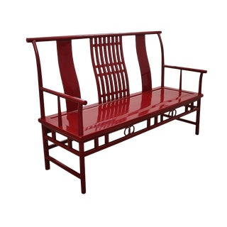 Modern Maria Yee Chinoiserie Bench in Red For Sale
