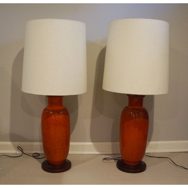 "Orange Crush! From the seller: ""I bought these mid-century urn lamps at an antiques mall in LA. I had them refurbished and..."