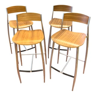 Design Within Reach Steel and Maple Bar Stools Italy S/4 For Sale
