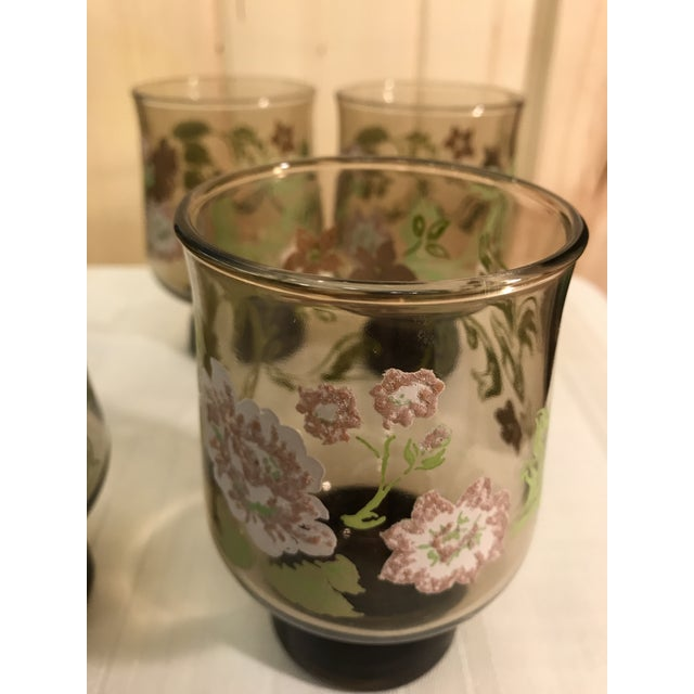 Mid-Century Modern Smoked Glasses With Embossed Design - Set of 5 For Sale - Image 11 of 11