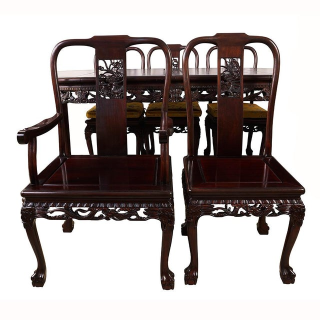 Brown 20th Century Chinese Carved Rosewood Dragon Dining Set For Sale - Image 8 of 13