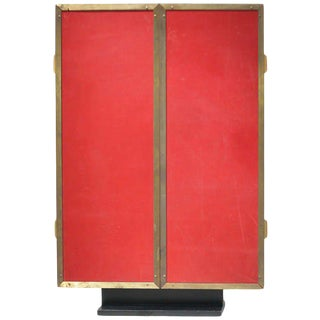 Paul Dupre-Lafon Triptych Red Leather and Brass Mirror For Sale