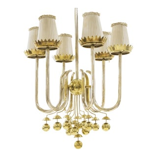 Pietro Chiesa - Important Italian Ceiling Light in Brass - Circa 1950 For Sale