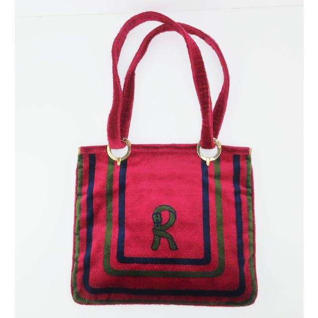 832ddc936f62 1960's Vintage Roberta DI Camerino Velvet Logo Tote Handbag For Sale -  Image 13 of 13