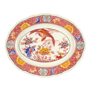 Wood & Sons Aquila Pink Multicolor Oval Serving Platter For Sale