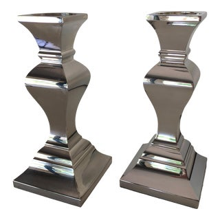 Neiman Marcus Modern Silver Candlesticks - a Pair For Sale