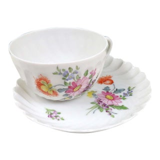 Vintage Nymphenburg Dresden Flowers Tea Cup & Saucer Set
