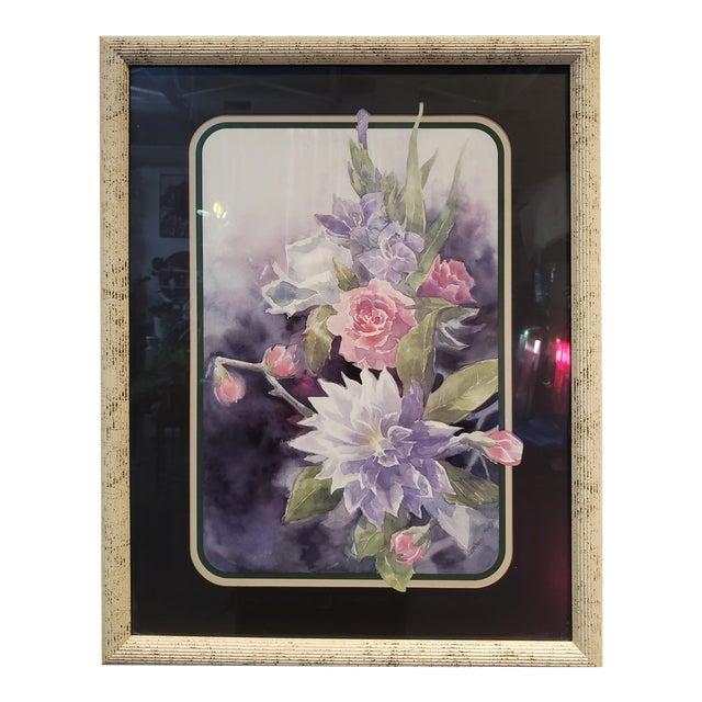 Vintage 1980's Framed Floral Watercolor Print For Sale