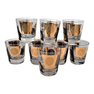 Vintage American Coins Glasses - Set of 8 For Sale