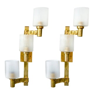 Ribbed Frosted Murano Glass Brass Sconces by Stilnovo - a Pair For Sale