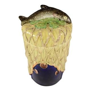 19th C. Copeland & Sons Majolica Fish Handled Pâté Jar