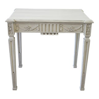 Vintage Louis XVI White Wood Accent Side Table