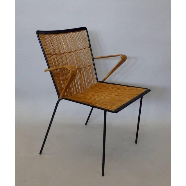 Wrought Iron Frame Franco Albini Style Rattan Chair For Sale In Detroit - Image 6 of 10