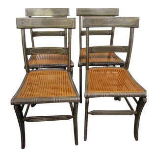 1900s Vintage Americana Country Cane Seat Chairs- Set of 4 For Sale