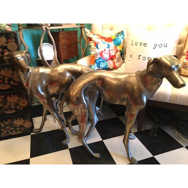 Life-Sized Brass Greyhounds - A Pair - Image 2 of 8