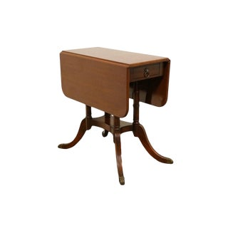 1940's Traditional Duncan Phyfe Solid Mahogany Drop Leaf Accent Table For Sale