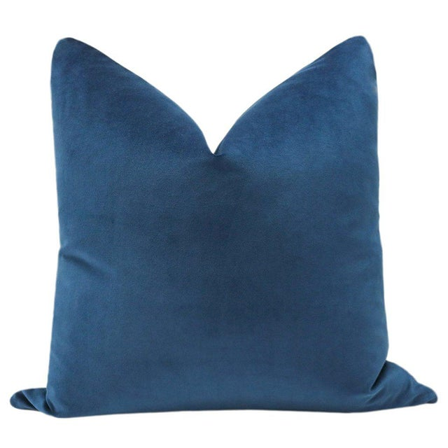 Pair of beautiful custom-made 100% cotton velvet pillows in cadet blue. Meticulously handcrafted with serged interior...
