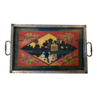 Vintage Art Deco Curio Serving Tray With Swans and Cherries For Sale