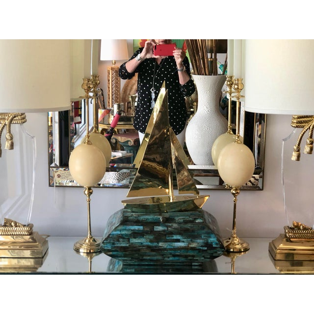 White Italian Ostrich Egg & Polished Brass Candle Holders - a Pair For Sale - Image 8 of 9