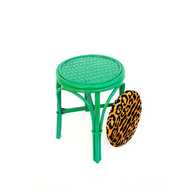 Vintage Emerald Green & Leopard Velvet Rattan Bamboo Accent Stool For Sale - Image 11 of 12