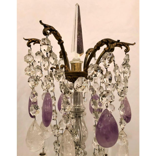 "Pair Antique French Signed Baccarat Crystal and Rock Crystal ""Girondolles"" Candelabra, Circa 1890. For Sale - Image 4 of 5"