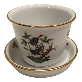 1980s Vintage Herend Rothschild Bird Cache Pot For Sale