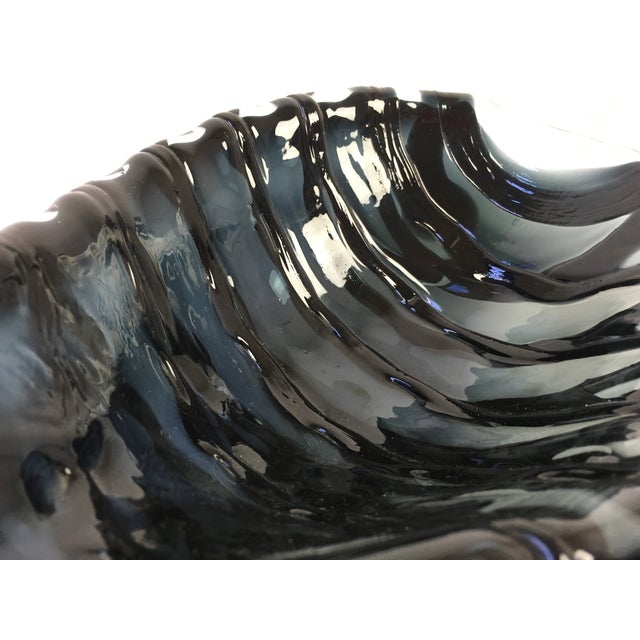 Late 20th Century Modernist Black Glass Fish Bowl For Sale - Image 5 of 7