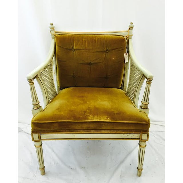 French-Style Gold Velvet & Cane Armchair - Image 2 of 11