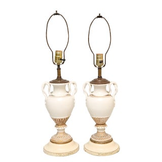 Pair of Meissen, Urn-Form Porcelain Vase Lamps With Snake Handles For Sale