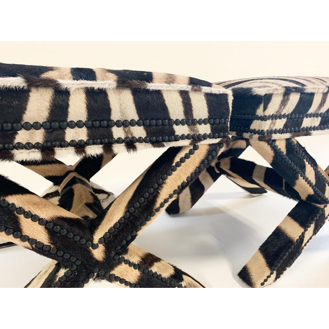 Billy Baldwin Style X Benches Restored in Zebra Hide - a Pair For Sale - Image 9 of 10
