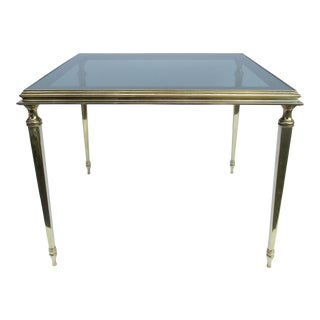 C.1960's Hollywood Regency French Brass Side Accent Table With Smoked Glass & Mirror Combination Top For Sale
