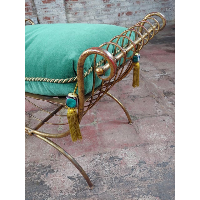 Metal Beautiful Gilt Metal French Lady's Bench W/Velvet Pillow -C1920s For Sale - Image 7 of 10