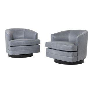 Pair of Mid-Century Modern-style Swivel Lounge Chairs