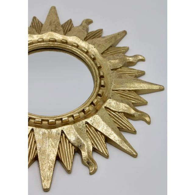 Mid-Century Modern Mid Century Modern Gold Sunburst Mirror For Sale - Image 3 of 13