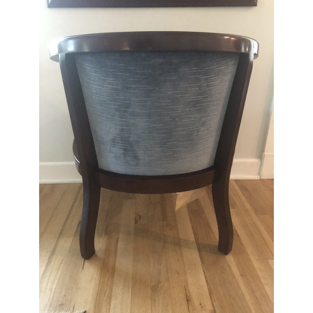 Transitional Mid Century Cane and Blue Velvet Barrel Chair by Morganton For Sale - Image 3 of 7