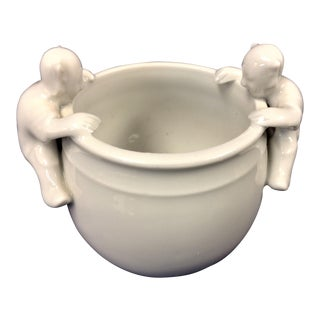 White Porcelain Incense Pot With 2 Figures For Sale