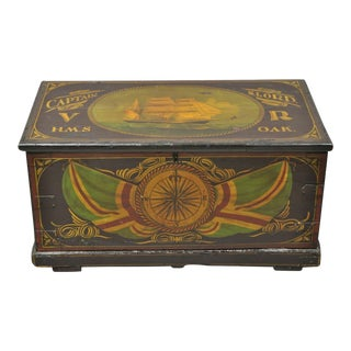 Antique English Nautical Captain N Lord Ship Green Painted Blanket Chest Trunk For Sale
