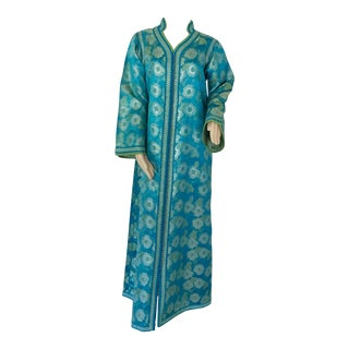 Moroccan Kaftan in Turquoise and Gold Floral Brocade Metallic Lame For Sale