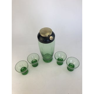 1940's Green Glass Cocktail Shaker and Matching Glasses - 5 Pieces Preview