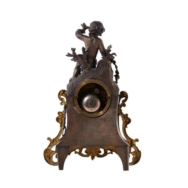 Rococo Bronze Mantel Clock, 1900's For Sale - Image 4 of 7