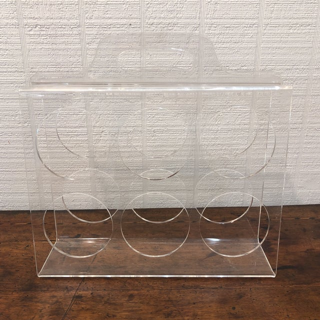 Vintage Lucite Wine Carrier With Handle For Sale - Image 6 of 6