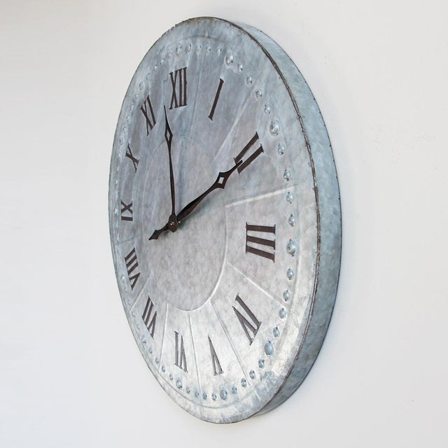 Industrial Galvanized Wall Clock - Image 4 of 4