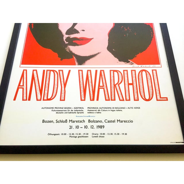 "Red Andy Warhol Rare Vintage 1989 Iconic Lithograph Print Framed Italian Exhibition Large Pop Art Poster "" Liz "" 1964 For Sale - Image 8 of 13"