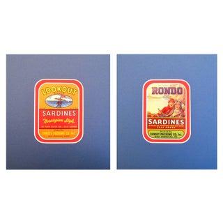 1930-40s Vintage Sardine Labels - A Pair