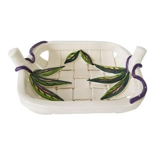 80's Rina Palega Tropical Woven Art Pottery Fruit Bowl / Basket . For Sale